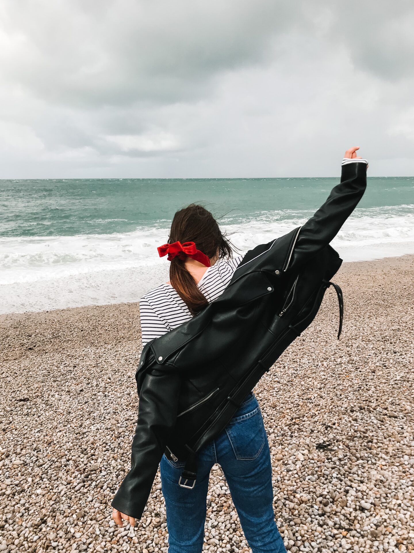 Women at the beach enjoying herself